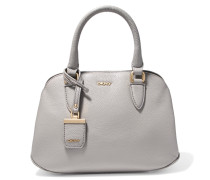 Textured-leather Tote Grau