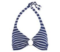 Neckholder-bikini-oberteil aus Piqué mit Streifen und Ringdetails