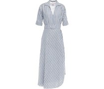 Petunia Belted Striped Linen And Cotton-blend Midi Dress
