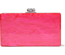 Woman Jean Marbled Acrylic Box Clutch Bright Pink