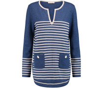 Odessa Striped Merino Wool Tunic Blau