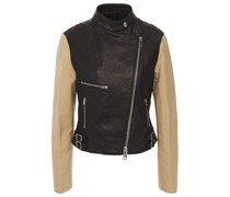 Paneled Leather And Canvas Biker Jacket