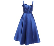 Knotted Satin-piqué Midi Dress