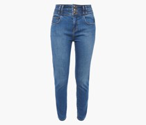 Woman The Pinball Stiletto Cropped High-rise Skinny Jeans Mid Denim