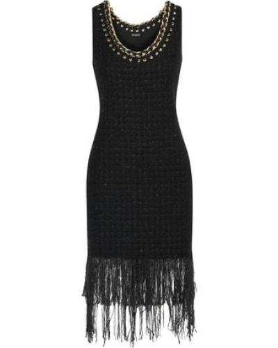 Fringed Embellished Metallic Tweed Dress Black