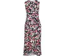 Lady Pleated Printed Crepe Dress