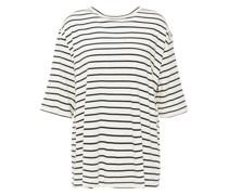 Gestreiftes T-shirt aus Baumwoll-jersey mit Ripsbandbesatz