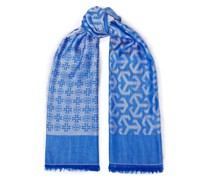Fringed Wool And Modal-blend Jacquard Scarf