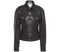 Woman Femme Trucker Leather Jacket Black