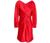 Gathered satin-crepe mini dress