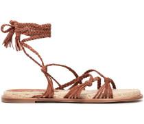 Tasseled Woven Suede Espadrille Sandals