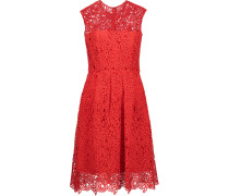Pleated Embroidered Cotton-blend Lace Dress Rot
