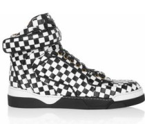 Tyson black and white woven leather sneakers