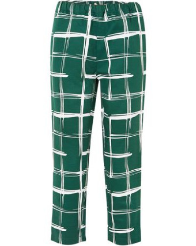 Woman Printed Cotton And Flax-blend Slim-leg Pants Emerald