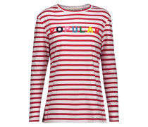 Printed striped cotton top