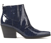 Winona Glossed Croc-effect Leather Ankle Boots