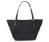 Faux Leather-trimmed Shell Tote