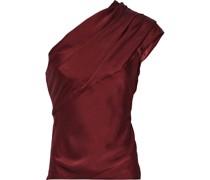 One-shoulder Gathered Hammered Silk-satin Top