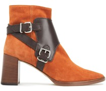 Leather-paneled Suede Ankle Boots