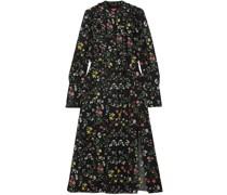 League Ruffled Floral-print Silk Crepe De Chine Midi Dress