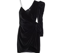 Mila Asymmetric Wrap-effect Velvet Mini Dress