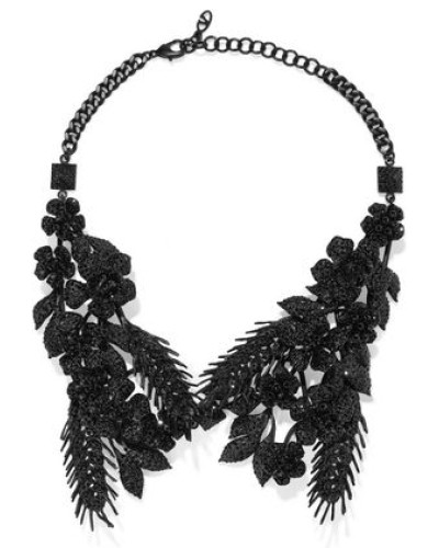 Woman Coated Crystal Necklace Black