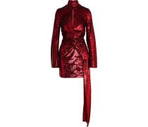 Catherine Draped Sequined Mesh Mini Dress