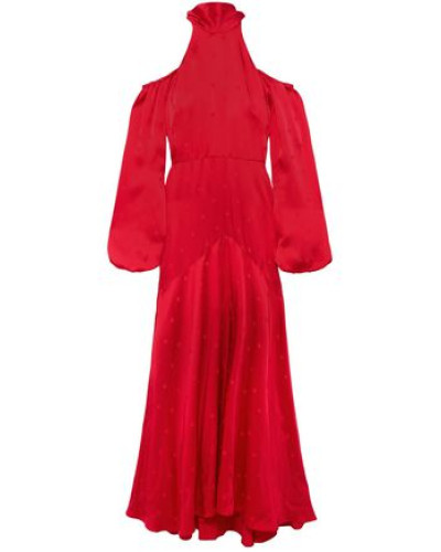 Betty Cold-shoulder Tie-neck Satin-jacquard Gown Red