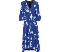 Floral-print Gathered Crepe Midi Dress