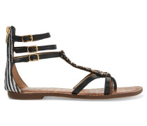 Gisele Embellished Calf Hair And Leather Sandals Schwarz