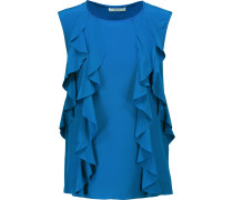 Mabel Ruffled Silk-satin And Stretch-jersey Top Kobaltblau