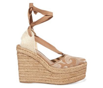 Dali embroidered suede espadrille wedge sandals