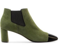 Suede and patent-leather ankle boots