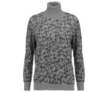 Printed Wool Turtleneck Sweater Grau