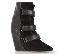 Scarlet Leather, Suede And Calf Hair Wedge Boots Schwarz