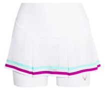 Striped pleated mesh and stretch-jersey shorts