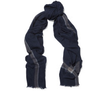 Printed Cashmere Scarf Navy