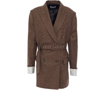 Double-breasted Belted Houndstooth Wool Blazer