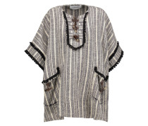 Embellished Striped Cotton-blend Cape Elfenbein