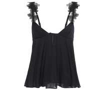 Woman Embroidered Tulle-trimmed Stretch-silk Chiffon Camisole Black