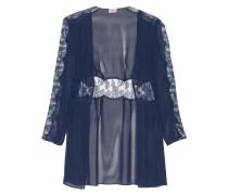 Willa Leavers Lace-paneled Silk-chiffon Robe Navy