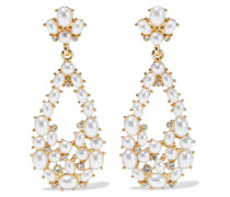-plated, Faux Pearl And Crystal Earrings