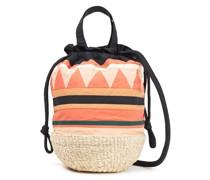 Akela Cotton And Straw Bucket Bag
