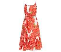 Lea Belted Gathered Floral-print Cotton Midi Dress