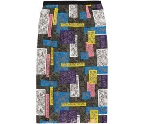 Patchwork Lace Pencil Skirt Blau