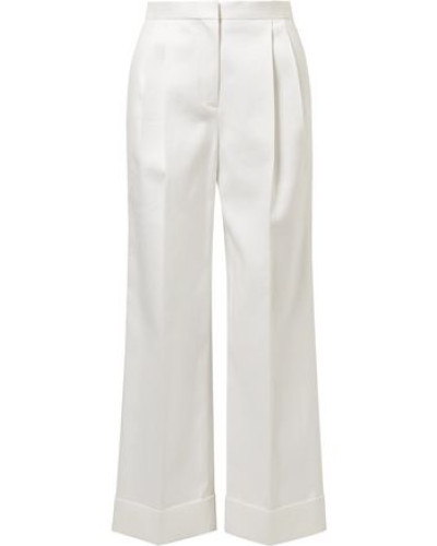 Woman Liano Pleated Cotton-twill Wide-leg Pants White