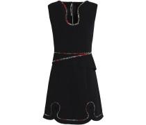 Cutout Embroidered Crepe Mini Dress