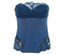 Embroidered Tulle And Stretch-jersey Bustier
