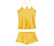 Woman Bella Silk-satin Pajama Set Marigold