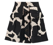 Quilted printed silk-blend mini skirt